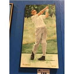 GICLEE OIL ON CANVAS TRANSFER PRINT GOLFER  SIGNED LIMITED EDITION 60/150 BY