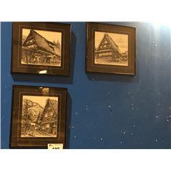 GROUP OF 3 FRAMED PRINTS JAPANESE VILLAGE SIGNED BY ARTIST