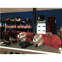YOUTH SNOWBOARD HAND-BUILT IN USA BY MERVIN MFG, ROXY BINDINGS, PAIR  WOMENS SIZE 7 ROXY