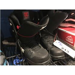 PAIR - DG BLACK & RED SNOWBOARD BOOTS  - MENS SIZE 9
