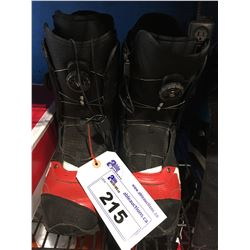 PAIR - NB686 SNOWBOARD BOOTS - BLACK & RED - MENS SIZE 9