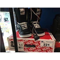 PAIR - VANS SNOWBOARD BOOTS - BLACK/CHEVRON - WOMANS SIZE 6