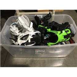 CLEAR PLASTIC STORAGE BIN FILLED WITH  ASSTD SETS OF SNOWBOARD BINDINGS