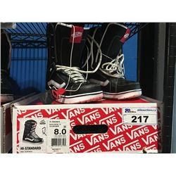 PAIR - VANS SNOWBOARD BOOTS - BLACK & WHITE - MENS SIZE 8