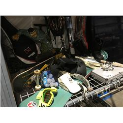 SHELF LOT FILLED WITH ASSTD SPORTS & RECREATIONAL ITEMS SCOOTERS/TENNIS