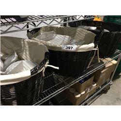 3 LARGE WICKER BASKETS OF ASSTD WHITE CERAMIC DINNERWARE - PLATES/SAUCERS/BOWLS ETC.