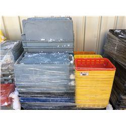 PALLET LOT OF ASSTD PLASTIC STORAGE BINS & BASKETS