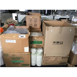 PALLET LOT OF ASSTD FOOD IND. FOOD PACKAGING & TAKE-OUT CONTAINERS