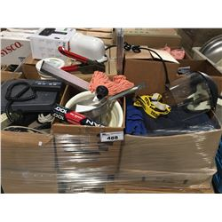 PALLET LOT OF ASSTD MISC. ITEMS FOOD IND. ITEMS/TOOLS/ELECTRONICS ETC.