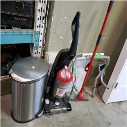 BISSELL VACUUM, STICK MOP, AND TOILET SFETY FRAME W/ STAINLESS GARBAGE