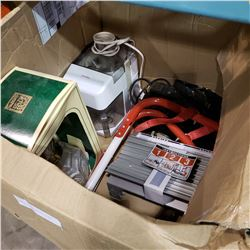 BOX OF EMERGENCY FIRE LADDER, VINTAGE SPOTLIGHT, OIL LAMP, AND JUICER