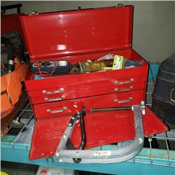 BEACH TOOL CHEST W/ CONTENTS AND VALVE COMPRESSOR