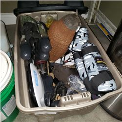 TOTE OF CB RADIO, WALKIE TALKIE, FLASHLIGHTS, VINTAGE THERMOS, AND PAINT BALL GEAR