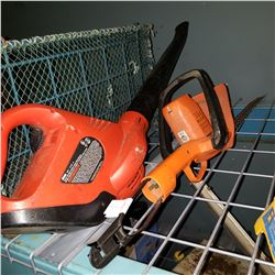 ELECTRIC HEDGE TRIMMER AND CORDLESS LEAF BLOWER
