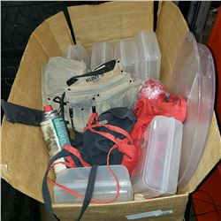 BOX OF CLAMSHELLS, TOOLBELT AND CARNIVAL MONEY BELTS