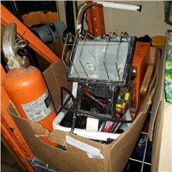 BOX OF TOLS, HARDWARE ORGANIZER W/ CONTENTS