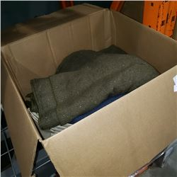 BOX OF WOOL BLANKETS AND PILLOW CASES