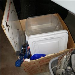 BOX OF STORAGE CONTAINERS AND BASBALL WHITEBOARD