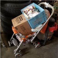 BABY STROLLER AND 2 BOXES OF BABY ITEMS