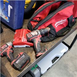 MILWAUKEE CORDLESS IMPACT GUN, DRILL, BATTERY, AND CHARGER - TESTED AND WORKING