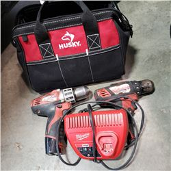 MILWAUKEE 12V CORDLESS DRILLS W/ CHARGER AND BATTERY - TESTED AND WORKING