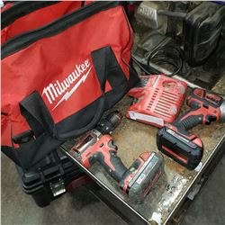 MILWAUKEE M18 CORDLESS IMPACT DRILL, 2 BATTERIES, AND CHARGER - TESTED AND WORKING