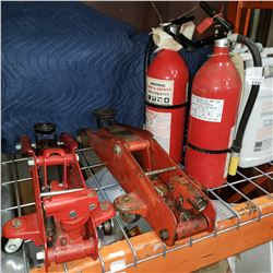 2 FIRE EXTINGUISHERS AND 2 FLOOR JACKS