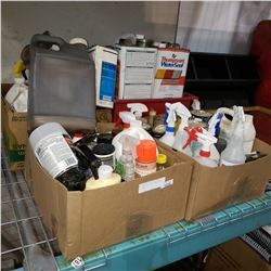 LOT OF SHOP LIQUIDS AND SPRAY BOTTLES