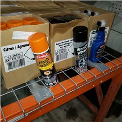 BOX OF SUPER WET WHEEL CLEANER, FLASH DASH CLEAER, AND GLASS