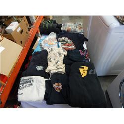 TRAY OF HARLEY DAVIDSON T-SHIRTS, MONSTER HOODIE ETC