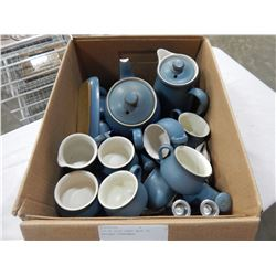 LOT OF BLUE DENBY MADE IN ENGLAND DINNERWARE