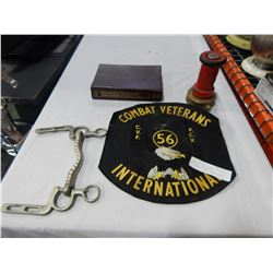 COMBAT VETERANS LARGE PATCH W/ HOSE BIT, ENGINEERS DICTIONARY, AND VINTAGE SPRAY NOZZLE