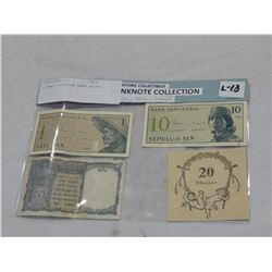 4 SMALL FOREIGN BANK NOTES
