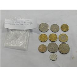 LOT OF 10 WORLD COINS EUROS, SHILLINGS, EASTERN COINS, ETC