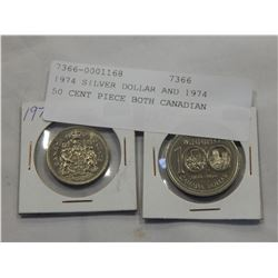 1974 SILVER DOLLAR AND 1974 50 CENT PIECE BOTH CANADIAN