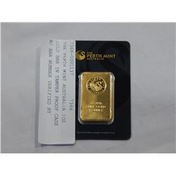 THE PERTH MINT AUSTRALIA 1OZ GOLD BAR IN TAMPER PROOF CASE W/ BAR NUMBER VERIFIED BY PERTH MINT