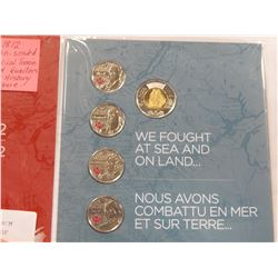 WAR OF 1812 COLLECTION IN RCM FOLDER WITH SHORT HISTORY OF EACH HISTORIC FIGURE, COINS UNCIRCULATED