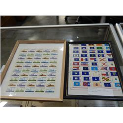 2 SHEETS OF STAMPS, CANADIAN AND AMERICAN