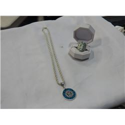 MAYAN NECKLACE AND RING MARKED 925
