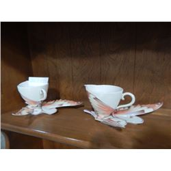 2 FRANZ PAPILLON BUTTERYFLY PATTERN TEA CUPS AND SAUCERS