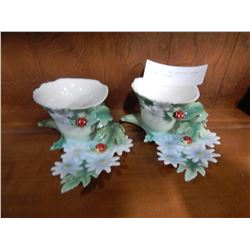 2 FRANZ LADY BUG PATTERN CHINA CUPS AND SAUCERS