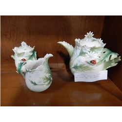 FRANZ CHINA TEAPOT W/ CREAM AND SUGAR LADY BUG PATTERN