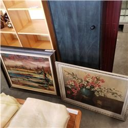 LARGE OIL ON CANVAS VINTAGE PAINTING BY ZOLTAN PERLMUTTER IN WOOD FRAME, AND FLOWER PRINT IN WHITE F