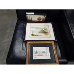 LOT OF 2 WATER COLOUR PAINTINGS AND SMALL PRINT