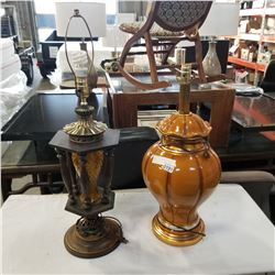 CERAMIC LAMP AND WOOD TABLE LAMP
