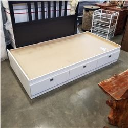 WHITE SINGLE SIZE BED FRAME W/ 3 DRAWERS