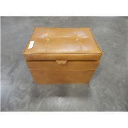 VINTAGE LEATHER OTTOMAN W/ COLLECTIBLES