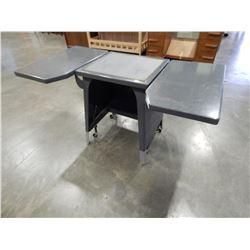 DROP SIDE METAL TYPEWRITER TABLE W/ BRAKE