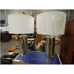 PAIR OF METALLIC TABLE LAMPS