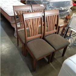 4 WALNUT DINING CHAIRS W/ STORAGE SEATS